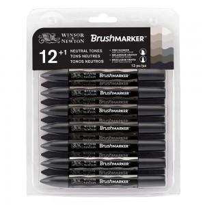 Winsor & Newton Brushmarker -  12 + 1 Blender - Neutral Tones (grey tones)