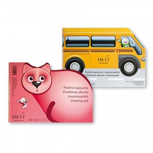 Joonistusplokk Buss või Kass 10 Lehte, 120 G/M2,