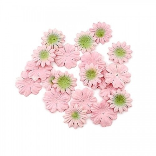 Set Of Flowers From Mulberry Paper, 2 Kinds Of 20 Pcs With Green Peach