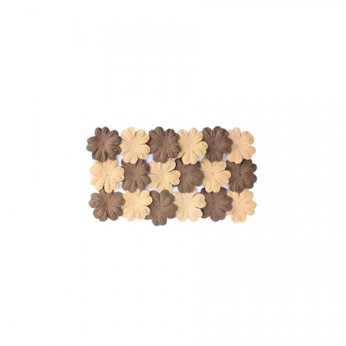 Set Of Flowers From Mulberry Paper, 2 Color 20 Pcs 28Mm Brown Sand