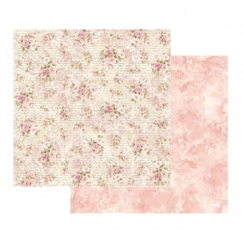 Scrapbookingu paber 30x30 - Shabby roses and writing