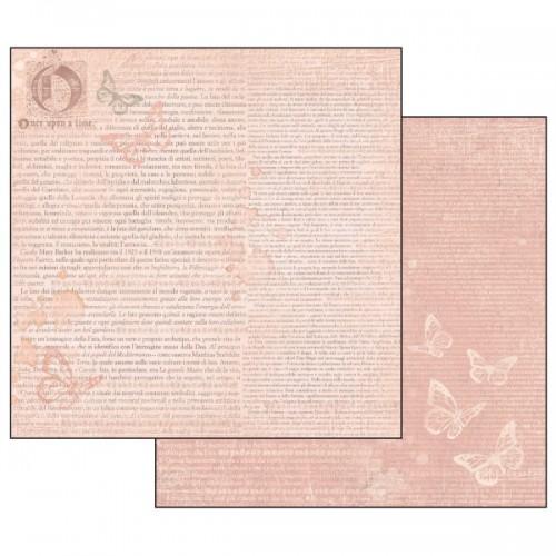 Scrapbookingu Paber 30X30 -  Writing Ofn Pink N+Background And Butterflies