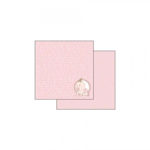 Scrapbookingu Paber 30X30-  Baby Pink With Writing