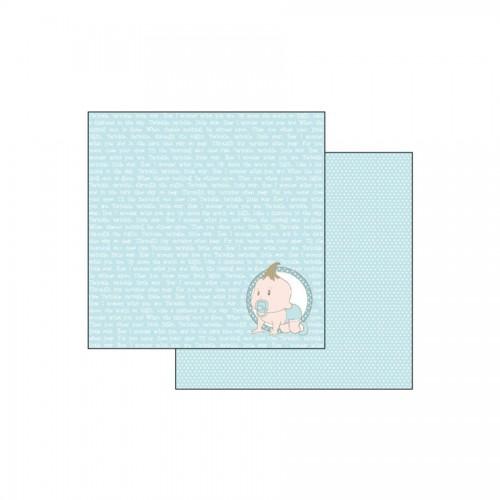 Scrapbookingu Paber 30X30 -  Baby Light Blue With Wirting
