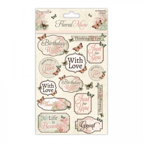 Dovecraft Floral Muse A5 Sentiment Stickers