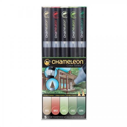 Chameleon, 5 Pen Set Nature Tones