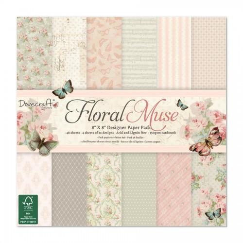 20x20cm  paberiplokk, Dovecraft, Floral Muse