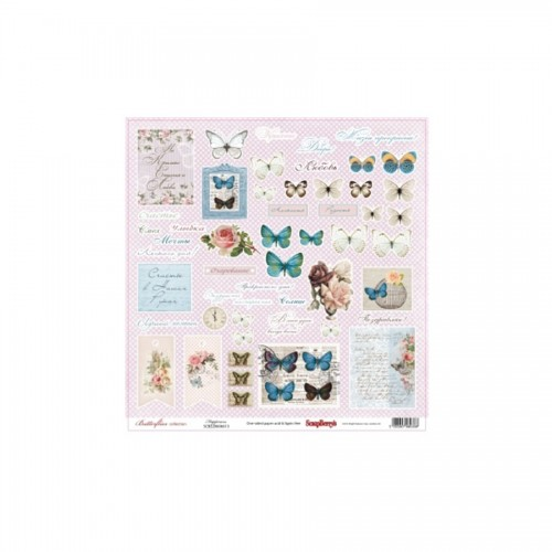 Scrapbookingu paber 30x30 cm- 190gs  Butterflies - Happiness