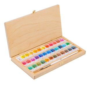 Water colour 36 pan Set,wooden box, squirrel brush