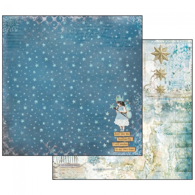 Scrapbookingu paber 30x30cm  Blue Stars Magic Wand