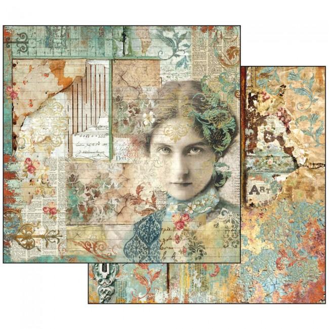 Scrapbookingu paber 30x30cm Time is an Illusion Face