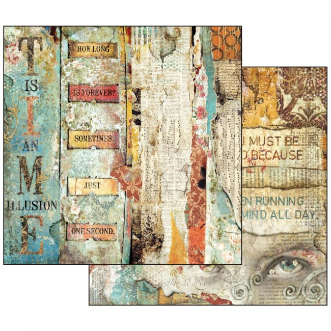 Scrapbookingu paber 30x30cm Time is an Illusion Little Labels