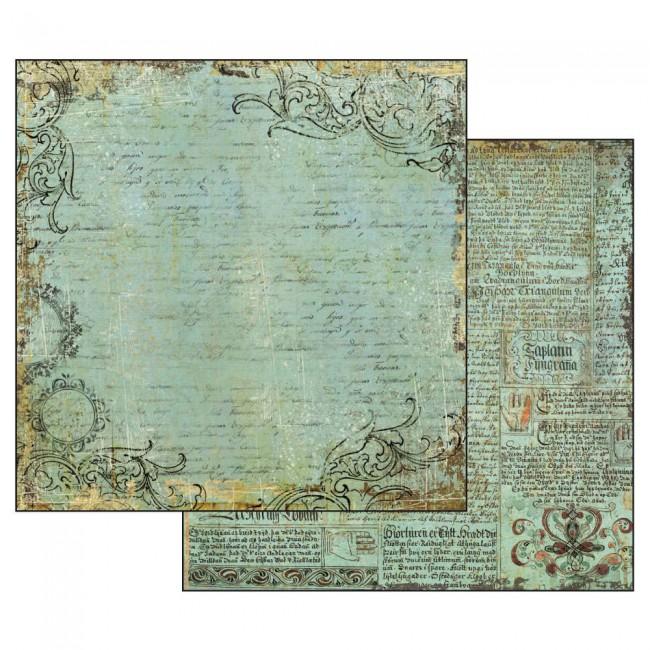 Scrapbookingu paber 30x30cmAlchemy Manuscript Turquoise Background