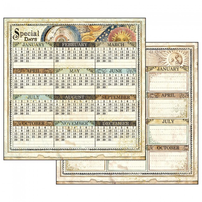 Scrapbookingu paber 30x30cm Alchemy Calendar