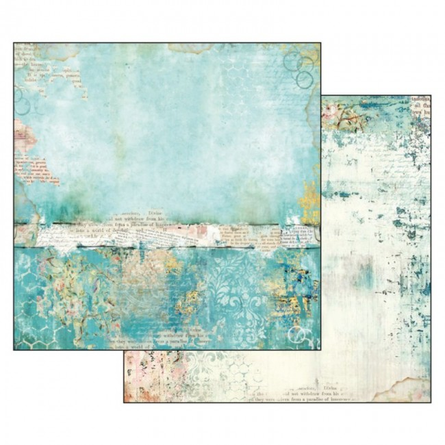 Scrapbookingu paber 30x30cm Wonderland turquoise texture