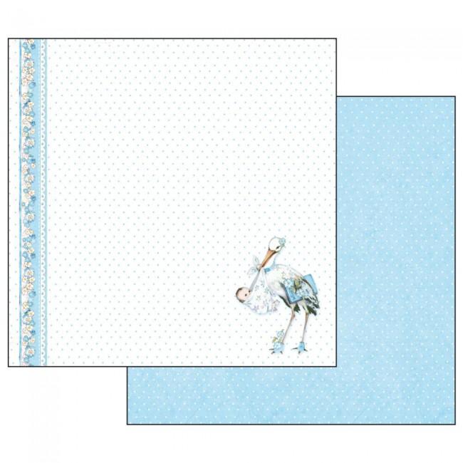 Scrapbookingu paber 30x30cm Baby Boy stork