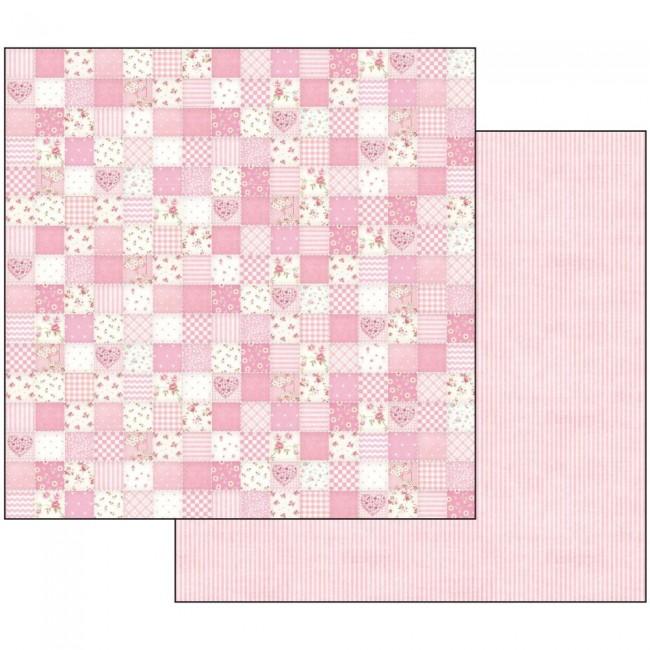 Scrapbookingu paber 30x30cm Baby Girl pink patchwork
