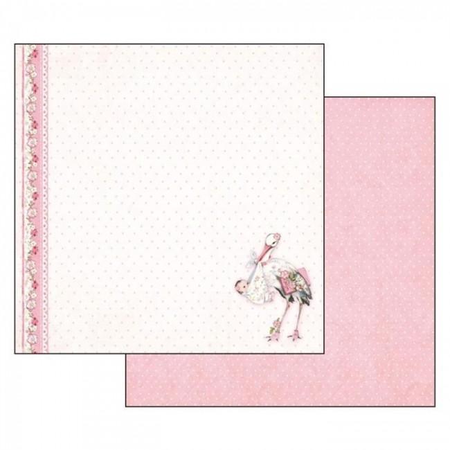 Scrapbookingu paber 30x30cm Baby Girl stork