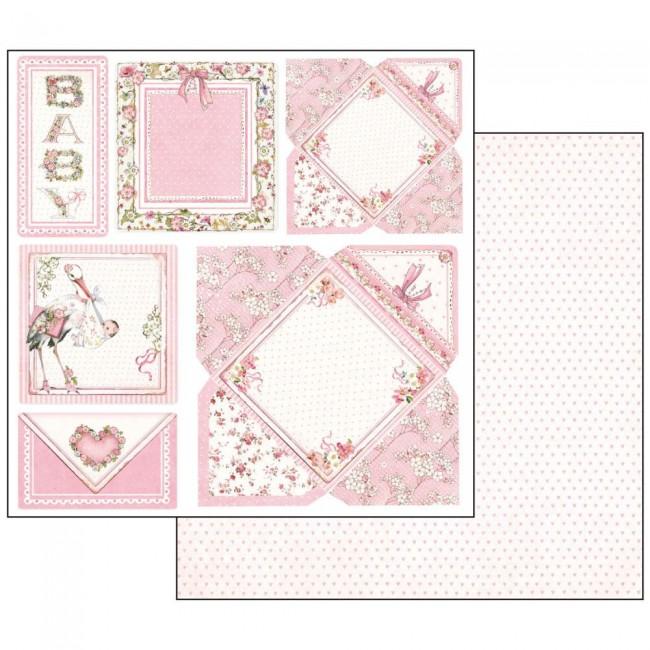 Scrapbookingu paber 30x30cmBaby Girl cards