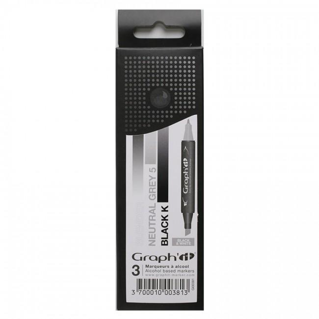 Komplekt GRAPH'IT Marker 3tk - Black & White