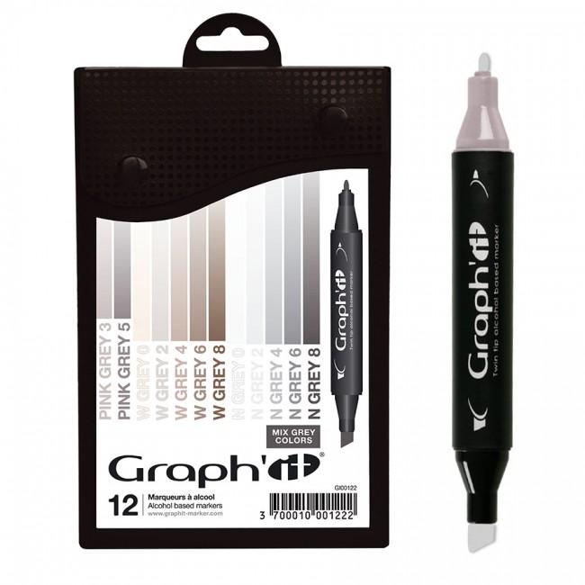 Komplekt GRAPH'IT Marker 12tk  - Mix greys
