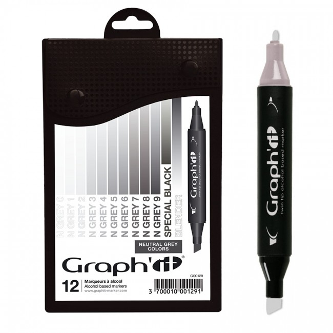 Komplekt GRAPH'IT Marker 12tk  - Neutral Greys