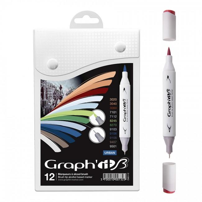 Komplekt Graph'it Brush Marker 12tk Brush Markers - Urban