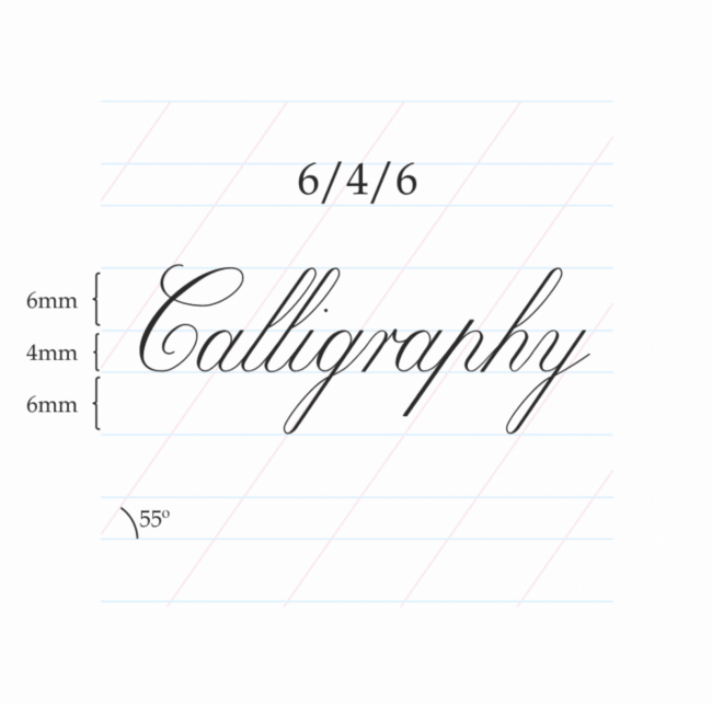 Copperplate Calligraphy 6/4/6 mm – A4 (Portrait)Paberiplokk