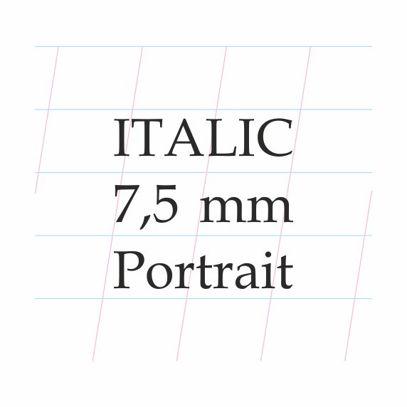 Italic Calligraphy 7,5 mm  – A4 (Portrait)Paberiplokk