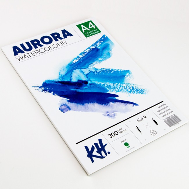 Akvarellialbum AURORA A4, 300gsm 12 lehte, Krobeline