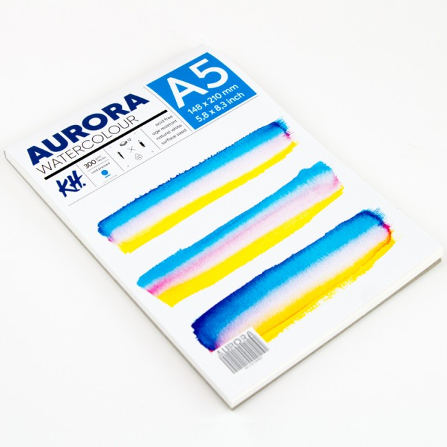 Akvarellialbum AURORA A5, 300gsm 12 lehte, Külmpressitud