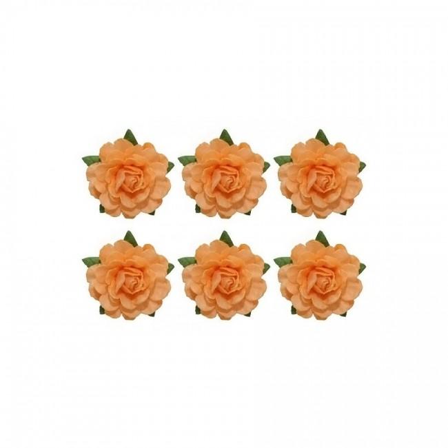 Tea Roses' Flowers, -18 Mm Diameter, 6 Pcs, Beige