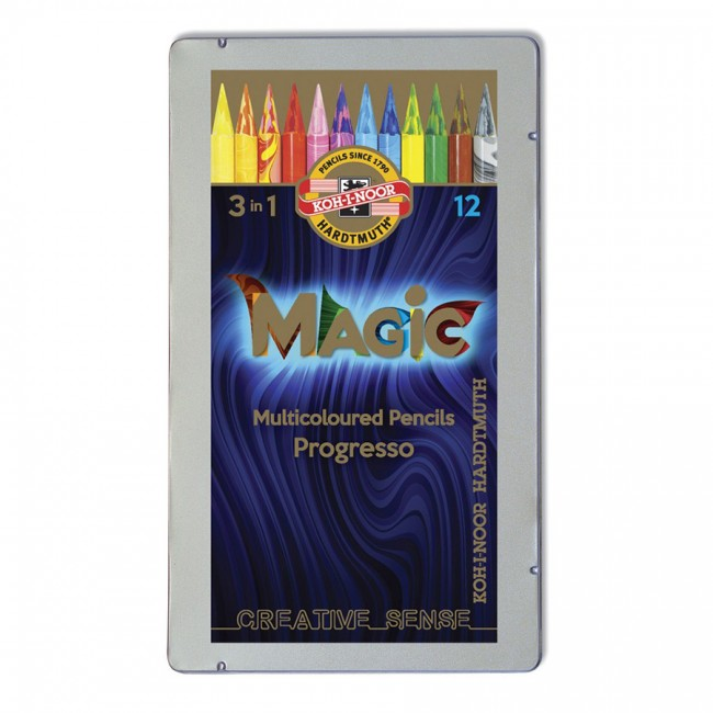 Lakk-kattega värviliste  pliiatsite k-t Magic Progresso 12tk
