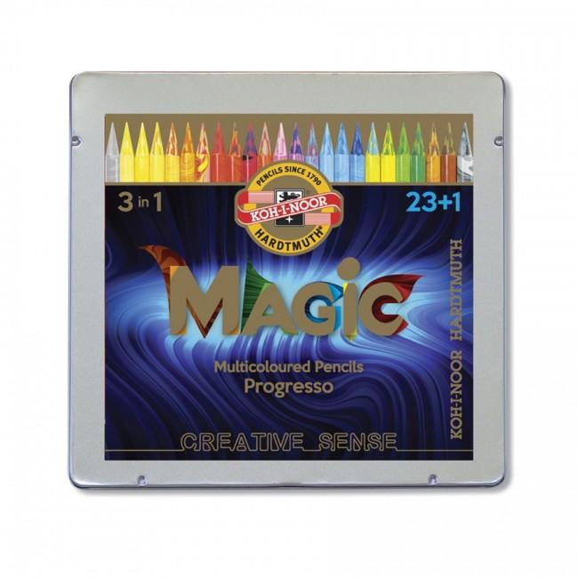 Lakk-kattega värviliste  pliiatsite k-t Magic Progresso 23+1tk