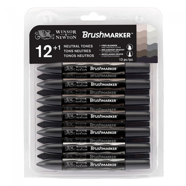 Winsor & Newton Brushmarker -  12 + 1 Blender - Neutral Tones (grey tones)