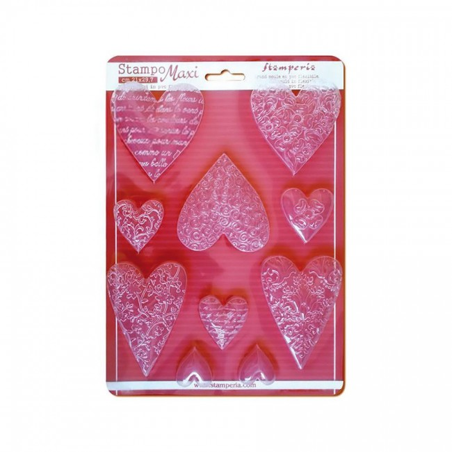 Soft Maxi Mould - Textured Hearts