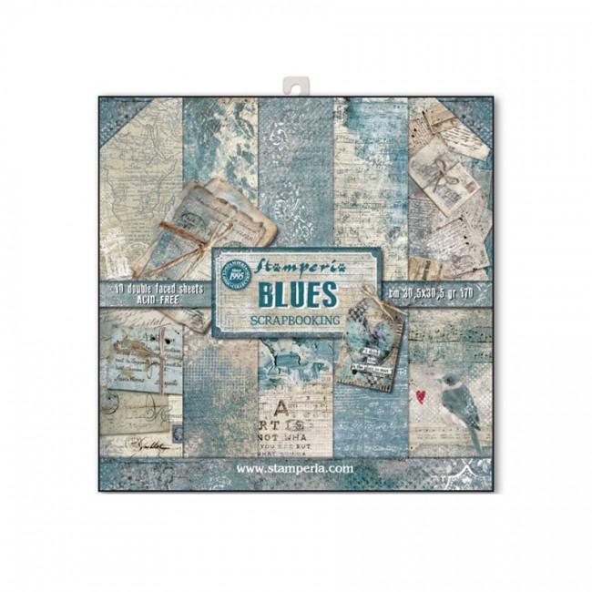 30x30cm  paberiplokk, Stamperia, Blues