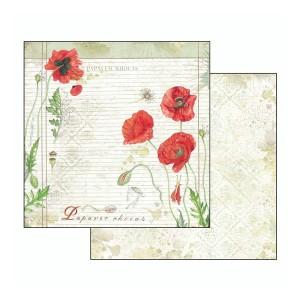 Scrapbookingu paber 30х30cm-Herbarium poppy