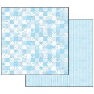 Scrapbookingu paber 30x30cm Baby Boy blue patchwork