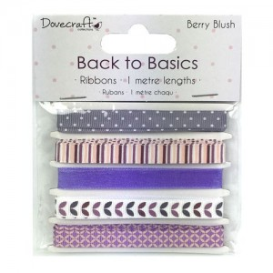 Dovecraft Back to Basics  Berry Blush Ribbons