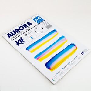 Akvarellialbum AURORA A4, 300gsm 12 lehte, Külmpressitud (Spiraal)