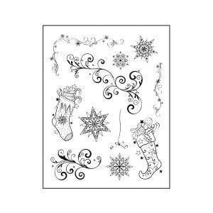 -50%Silikoontemplid   14X18Cm, Viva Decor, Christmas Stocking+Twirls
