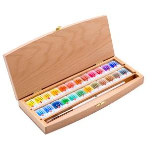 "Akvarelli k-t puukarbis ""Valged Ööd"",24v.+pintsel, pöök kast"