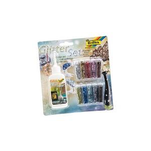 Glitter/Sädelev Pulber  10 Tk Kompl Ja Liim