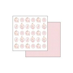 Scrapbookingu Paber 30X30-  Pois And Baby Pink Motifs