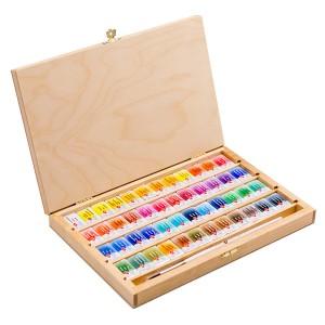 "Akvarelli komplekt puukarbis ""Valged Ööd"",48v+pintsel, kask kast"
