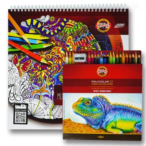 Muusikaline värvimisraamat värviliste pliiatsidega GB