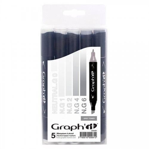 Komplekt GRAPH'IT Marker 5tk - Grey