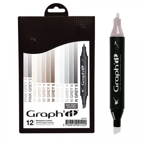 Komplekt GRAPH'IT Marker 12tk  - Mix greys