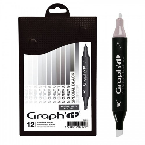 Komplekt GRAPH'IT Marker 12tk  - Neutral Greys